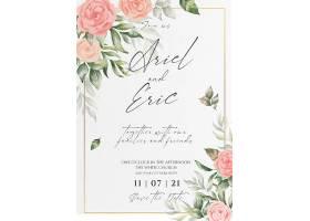 花卉婚礼请柬和菜单模板_103087960102
