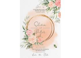 花卉婚礼请柬和菜单模板_103091470102