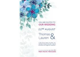 精美的蓝色彩花模板婚礼请柬_51812520101
