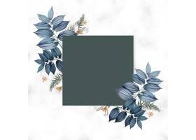 蓝色花卉空白方卡设计_37637920102
