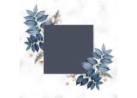 蓝色花卉空白方卡设计_38908830102