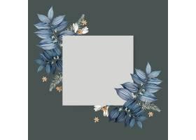 蓝色花卉空白方卡设计_38908840102