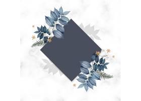 蓝色花卉空白方卡设计_38908850102
