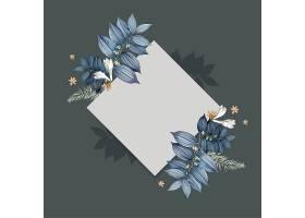 蓝色花卉空白方卡设计_38908860102