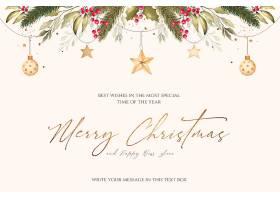 带有水彩画装饰品和自然的圣诞背景_109683660102