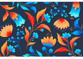 带有浪漫花朵的观赏花卉图案_48598640102