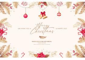 带有红色和金色装饰品的最小圣诞贺卡_109684980102