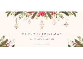 以水彩画和金色装饰品为背景的圣诞节_109683740102