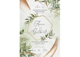 优雅的婚礼请柬和带叶子的菜单模板_103087990102