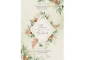 优雅的婚礼请柬和带有浪漫叶子的菜单模板_103091710102
