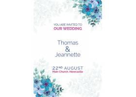 优雅的婚礼请柬蓝色彩绘鲜花_51812500101