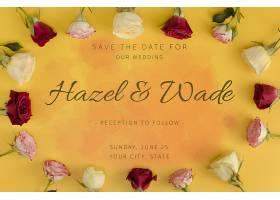 保留婚礼日期和玫瑰花相框_70733970102