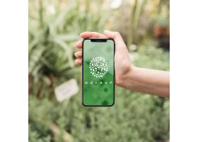 具有园艺概念的手持式智能手机样机_36567710102