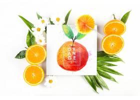 带有热带夏季概念的卡片样机_23319160102