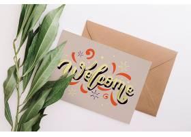 带有自然概念的卡片和信封样机_32836450102