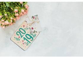 带花卉装饰的卡片样机用于婚礼或报价_35509180102