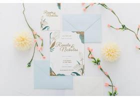 带鲜花的婚礼请柬样机_84222170102