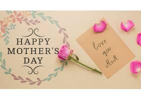带鲜花的母亲节卡片样机_41838910102