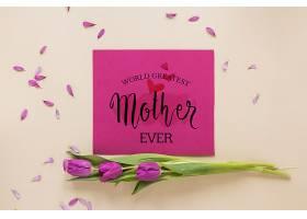 带鲜花的母亲节卡片样机_41839060102