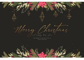 装饰精美的圣诞水彩画背景_109683820102