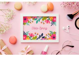 鲜花和礼品相框俯视图_70117970102