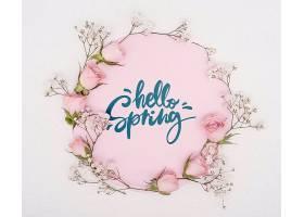 鲜花和粉色春季玫瑰的俯瞰_70895960102