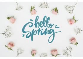 春季玫瑰花与其他花朵的俯瞰_70895910102