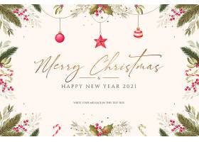最低限度的圣诞节背景配有水彩画装饰品_109683690102