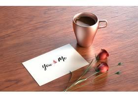 有玫瑰花和马克杯的情人节明信片_36333020102