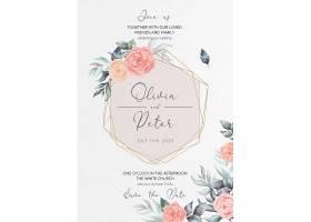 柔软的花卉婚礼请柬和菜单模板_103088010102