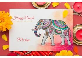 模拟排灯节印度教节日大象和鲜花_100612950104