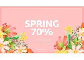 水彩画春季促销横幅模板_41505520102