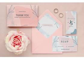 玫瑰色和戒指婚纱卡的俯视图_79656950102