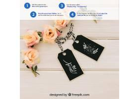 用标签和花卉装饰品装扮起来_12141450102