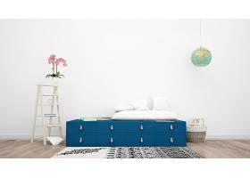 用现代家具粉色花朵和装饰品装饰的房间_70453330102