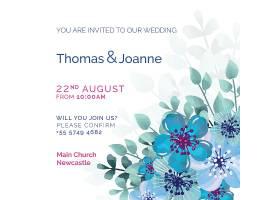 白色婚礼请柬蓝色彩绘鲜花_51812370101