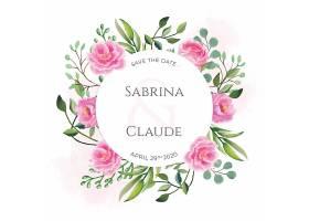 印有漂亮水彩花的婚礼请柬_52839920102