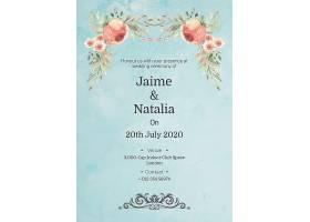 印有粉色玫瑰花的婚礼请柬_55807790102