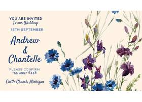 印有紫色和蓝色彩绘花朵的婚礼请柬_51812570101