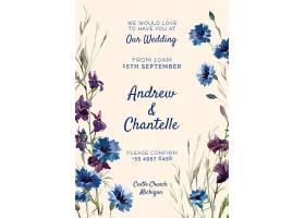 印有蓝色和紫色鲜花的婚礼请柬_51812580101