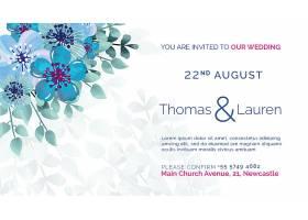 印有蓝色鲜花的婚礼请柬_51812600101