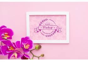 带兰花的框架的俯视图_102955410103