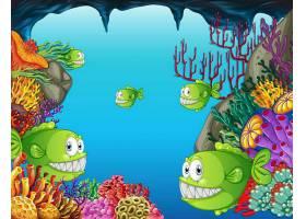 许多异国情调的鱼类卡通人物在水下与珊瑚并_127356760101
