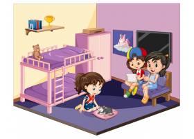 白色背景下粉色主题场景中的卧室里的女孩_127355570101