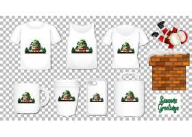 透明背景上有一套不同服装和配饰产品的圣诞_127355040101