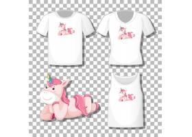 透明背景下隔开一套不同衬衫的可爱独角兽铺_127355660101