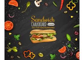 新鲜三明治黑板背景广告海报_43429970101