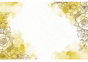 淡雅的金色酒墨底色配以鲜花_127402520101
