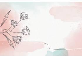 柔和的粉色背景配以鲜花_109876670101