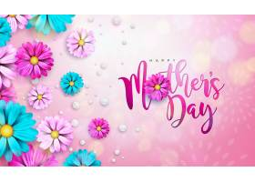 母亲节快乐贺卡设计粉色背景上有鲜花和印_75162830101